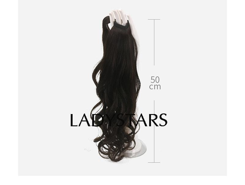 Tóc cột đuôi ngựa bằng tóc thật xoăn dài – Cho mùa hè mát mẻ