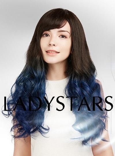 Tóc thật nguyên bộ xoăn ombre xanh – Kiểu tóc gây bão không thể bỏ qua