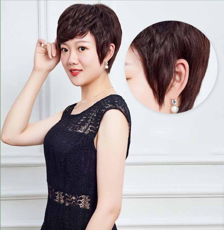 Tóc giả bằng tóc thật tém có da đầu siêu cá tính