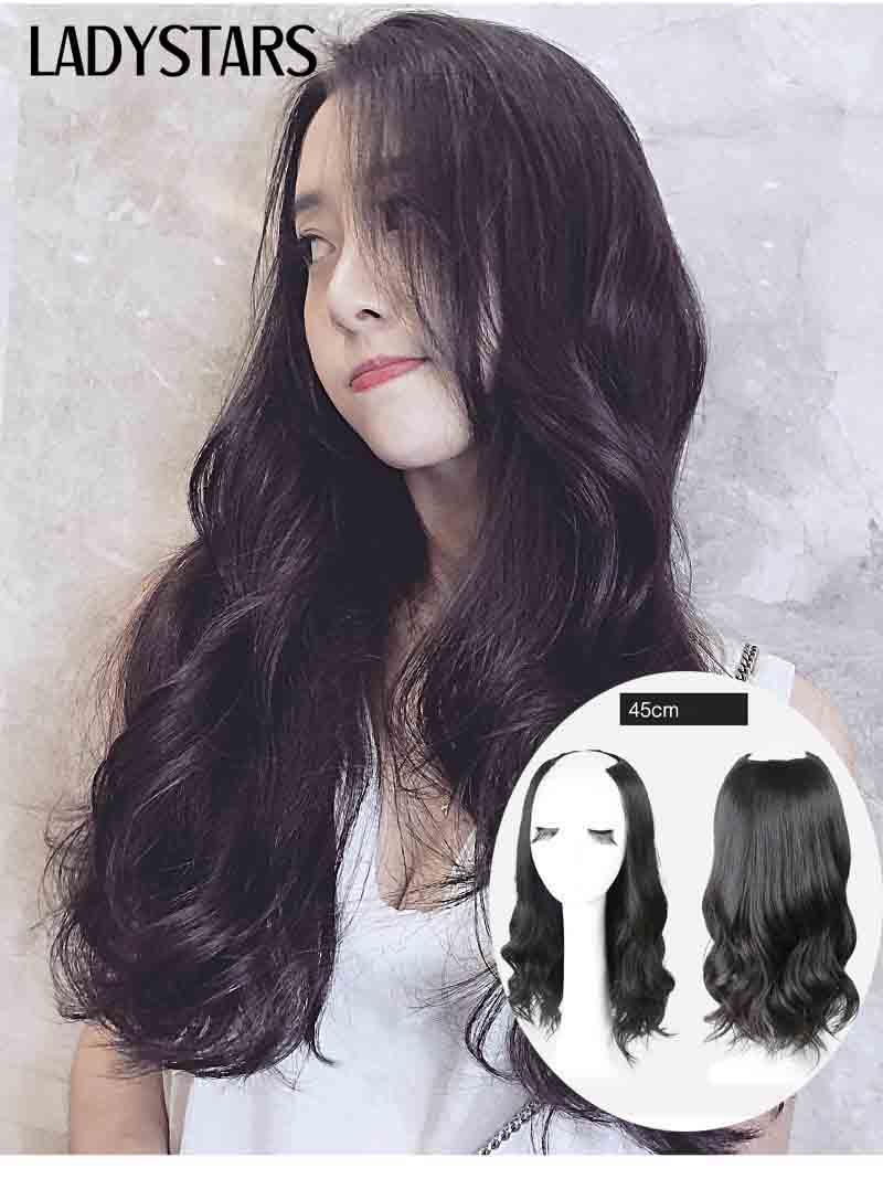 Tóc kẹp chữ U bằng tóc thật xoăn dài