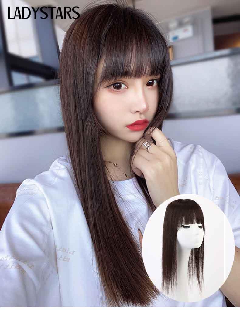Tóc giả mái che hói bạc mái ngang có da đầu