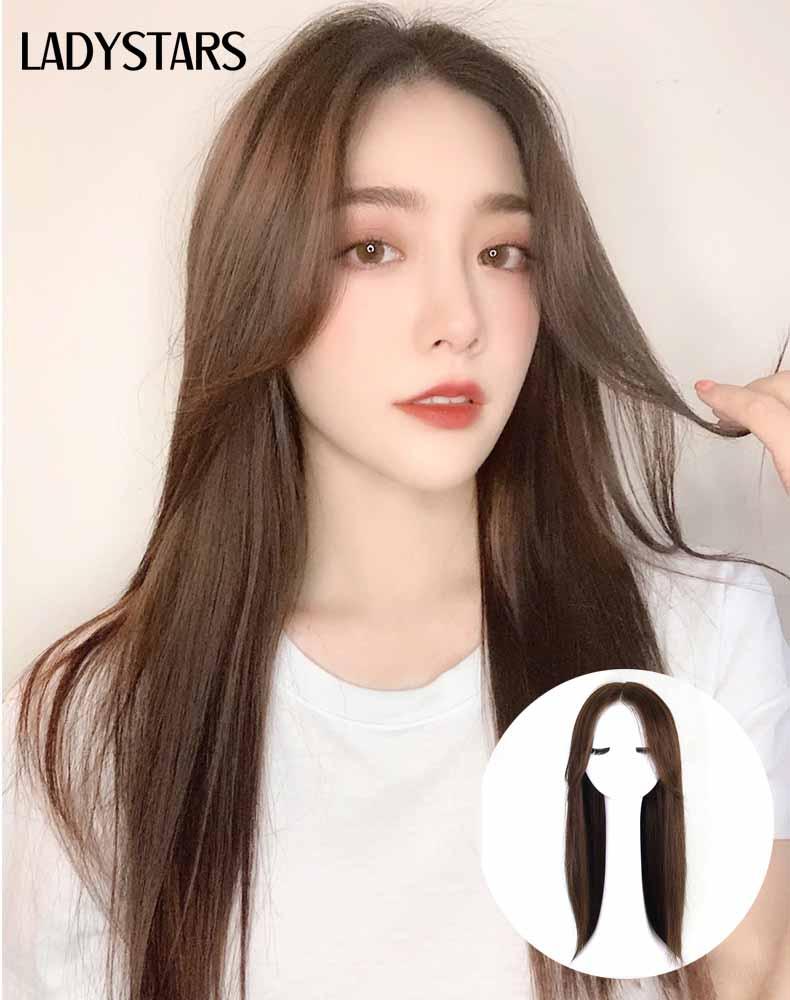 Tóc giả nguyên đầu dài mái bay bằng tóc thật có da đầu